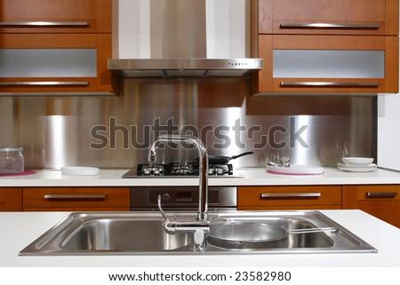 modern wood kitchen modern style background - stock photo