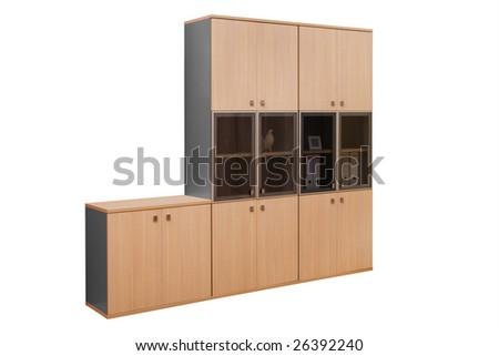 modern wooden bookcase on a white background - stock photo