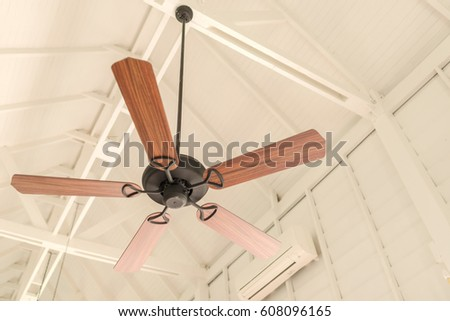 Modern wooden ceiling fan vintage style stock photo 608096165 modern wooden ceiling fan vintage style aloadofball Choice Image