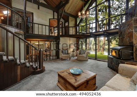 Modern Wooden Cottage House Interior With Living Room Close Up. Gorgeous  Fireplace With Natural Stone Part 96