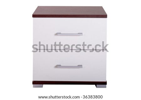 Modern wooden dresser isolated on a white background - stock photo
