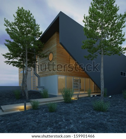 Modern wooden house exterior at dawn - stock photo