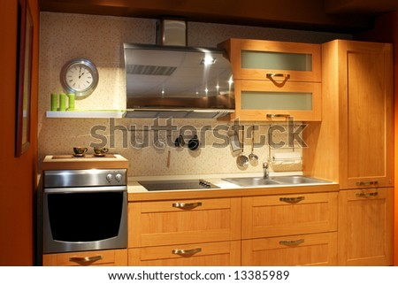 Modern wooden kitchen counter in new apartment