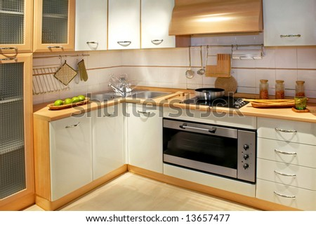 Modern wooden kitchen counter with big cabinet
