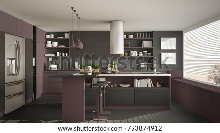Modern wooden kitchen with wooden details and panoramic window, gray and red minimalistic interior design, sunset sunrise panorama, 3d illustration