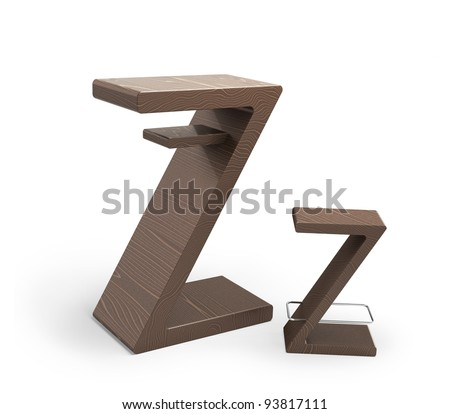 Modern wooden table with a chair in form Z isolated 3d model