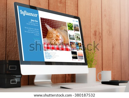 modern wooden workspace with computer. influencer profile on screen. All screen graphics are made up. 3D illustration. - stock photo