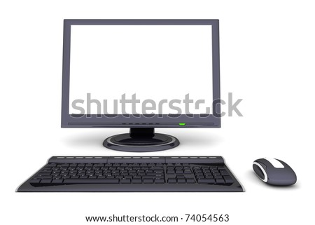 modern work desk with a black computer display, a wireless keyboard and a wireless mouse