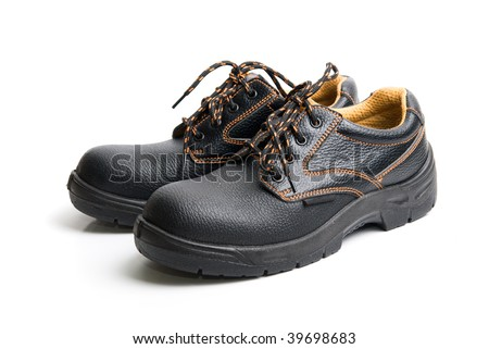 modern working boots isolated on a white background - stock photo