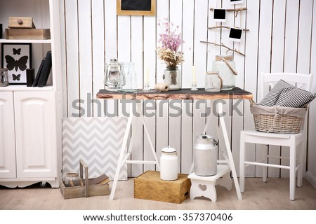 Modern workplace for designer in rustic style, on brick wall background - stock photo