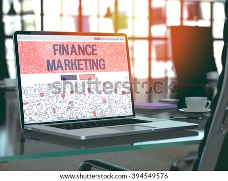 Modern Workplace with Laptop Showing Landing Page in Doodle Design Style with Text Finance Marketing. Toned Image with Selective Focus. 3D Render. - stock photo