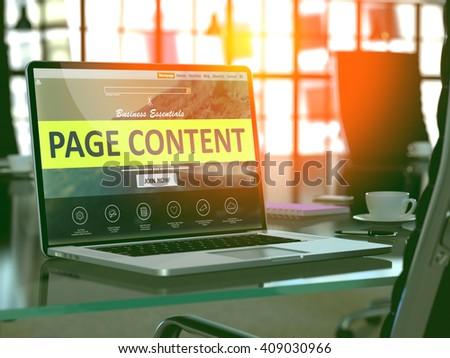 Modern Workplace with Laptop showing Landing Page with Page Content Concept. Toned Image with Selective Focus. 3D Render.