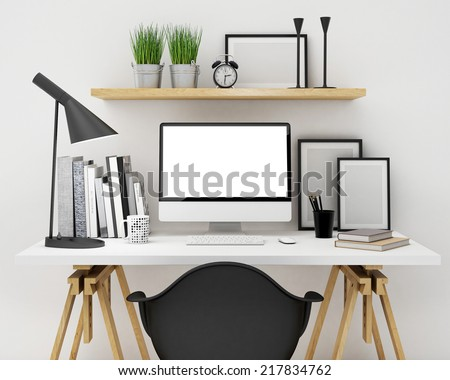 modern workspace template mock up background - stock photo