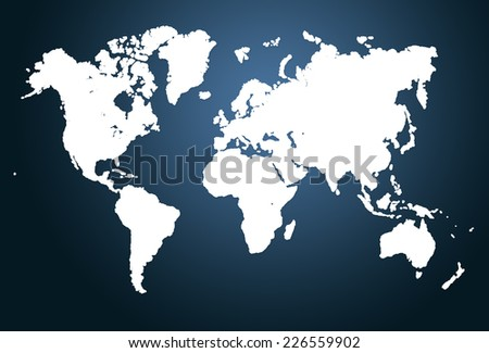 Modern world map illustration - stock photo