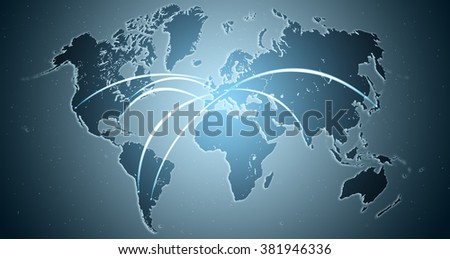 Modern world map showing interconnection between countries. Technology and travel concept - stock photo
