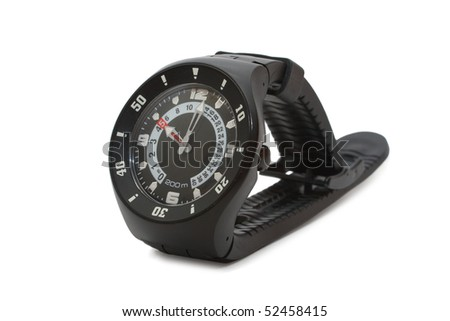 modern wristwatch. Isolated on white - stock photo