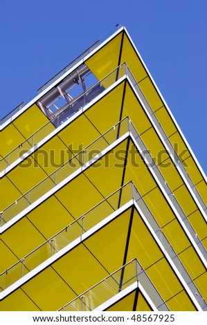Modern yellow balcony - stock photo