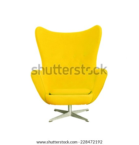 Modern Yellow Chair isolated on white background (with clipping path) - stock photo