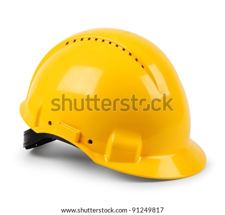Modern yellow hard hat protective safety helmet isolated - stock photo