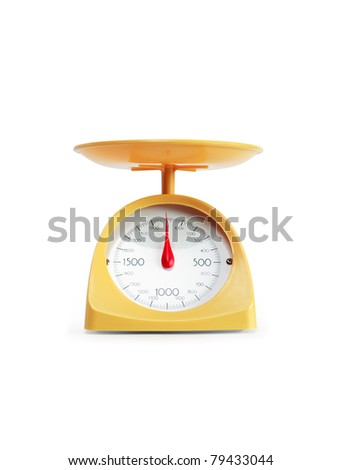 Modern yellow kitchen scale isolated on white background with clipping path - stock photo