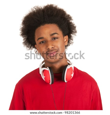 Modern young black boy with headphones in red - stock photo