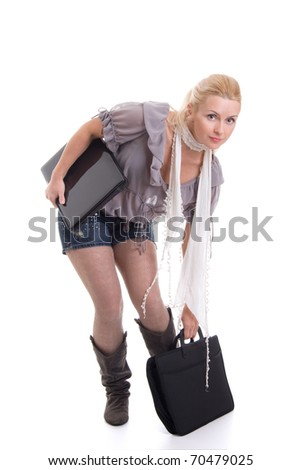 Modern young businesswoman with laptop holding a folder isolated on white background - stock photo