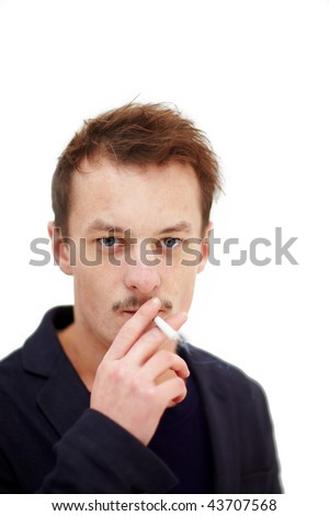 Modern young man smoking a deadly cigarette on white