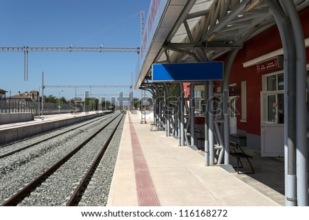 Modernization of railway station - electrification and adding new rails - stock photo