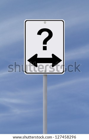 Modified one way sign on decision making or uncertainty (against a blue sky background) - stock photo