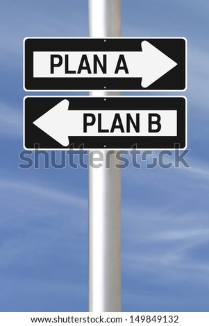 Modified one way signs on planning options  - stock photo