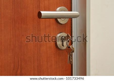 Modren style door handle on natural wooden door - stock photo