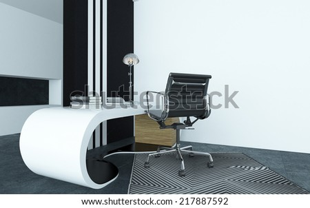 Modular curved modern white desk in an office with a silver metallic swivel chair on a geometric striped carpet with a black and white striped cupboard behind for dynamic interior decor - stock photo