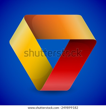 Moebius origami colorful paper triangle on blue background illustration