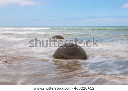 Moeraki Boulders at day time, Otago, New Zealand