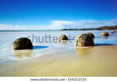 Moeraki Boulders beach. New Zealand  - stock photo