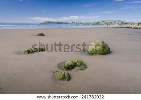Moeraki boulders, natural wonder ,New Zealand - stock photo