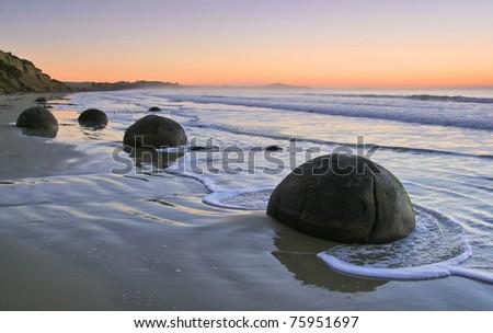 Moeraki Boulders, near Dunedin, New Zealand. - stock photo