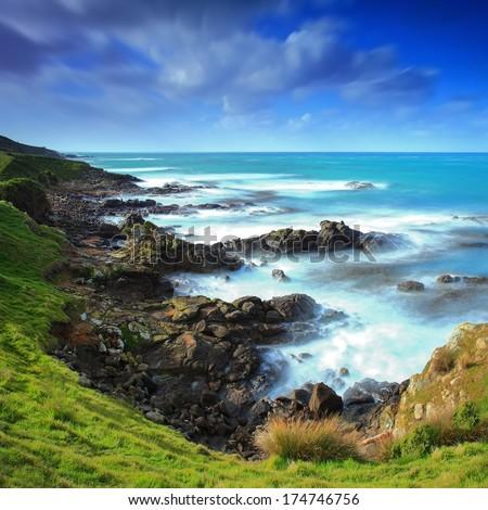 Moeraki Peninsula Coastline, New Zealand - stock photo