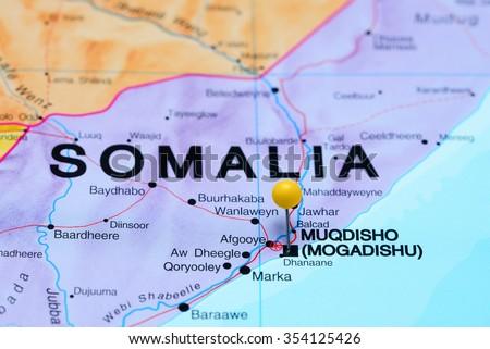 Mogadishu pinned on a map of Africa - stock photo