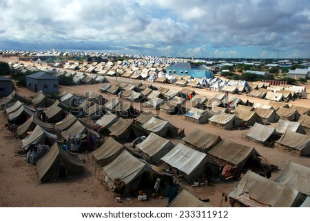 MOGADISHU,SOMALIA-APRIL 30, 2013 :A general view of the tent camp where thousands of Somali immigrants on April 30, 2013, in Mogadishu,Somalia. - stock photo