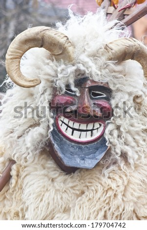 MOHACS, HUNGARY - MARCH 2.: Man in mask and costume at the 'Busojaras', the carnival of funeral the winter on March 2., 2014. in Mohacs, Hungary.