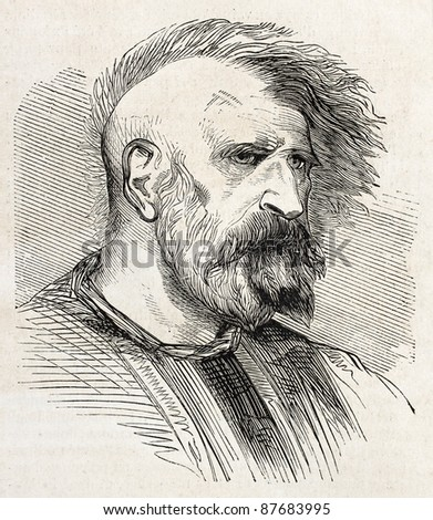Mohammedan fakir old engraved portrait. By unidentified author, published on L'Illustration, Journal Universel, Paris, 1860 - stock photo