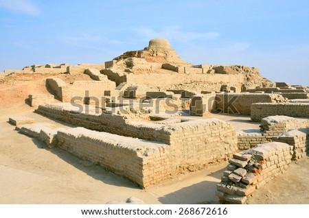 MOHENJO- DARO, PAKISTAN ?? MARCH 28 2015: Mohenjo-daro is an ancient Indus Valley Civilization city that built around 2600 BCE and flourished till 1900 BCE. It was  rediscovered in the 1920s.   - stock photo