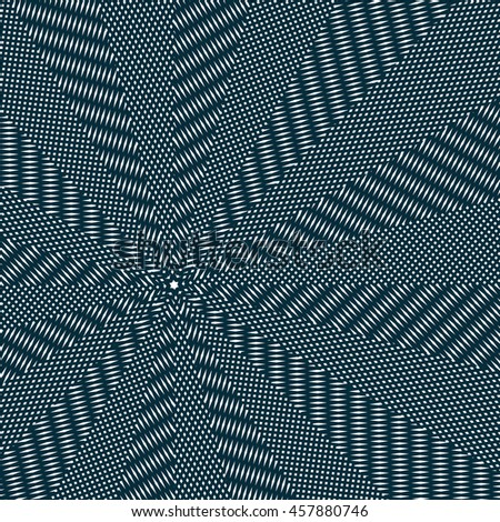 Moire pattern, op art background. Relaxing hypnotic backdrop with geometric black lines. Abstract tiling.
