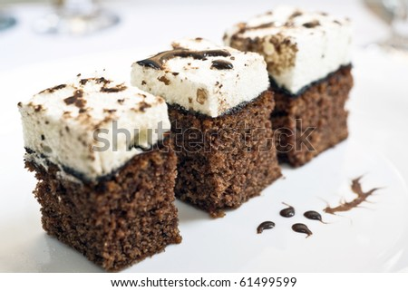 Moist cake pieces on plate