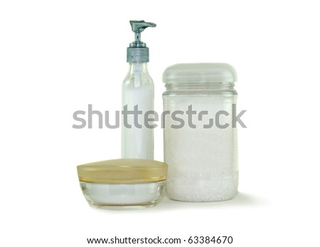 Moisturizing lotion and bath beads isolated on a white background. These cosmetics are used in the care of skin health and beauty - stock photo
