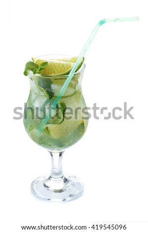 Mojito cactail with lime and mint in glass on white