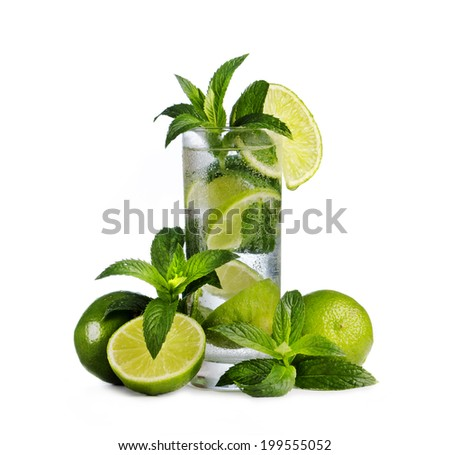 Mojito cocktail and ingredients isolated over white - stock photo