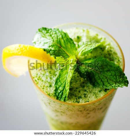 Mojito cocktail close up. Top view, selective focus, bright colors. - stock photo