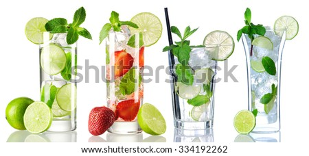 Mojito cocktail collection isolated on white - stock photo